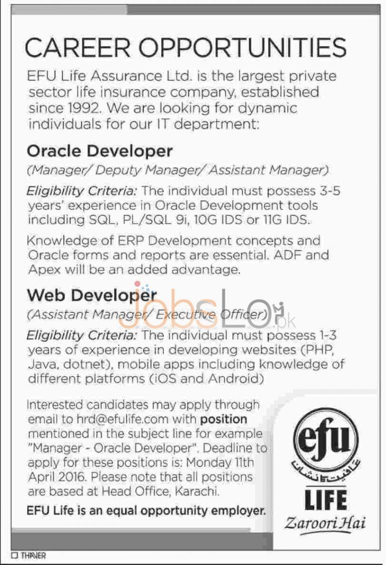 EFU Life Insurance Ltd Karachi Jobs 29 March 2016 For Oracle & Web Developer