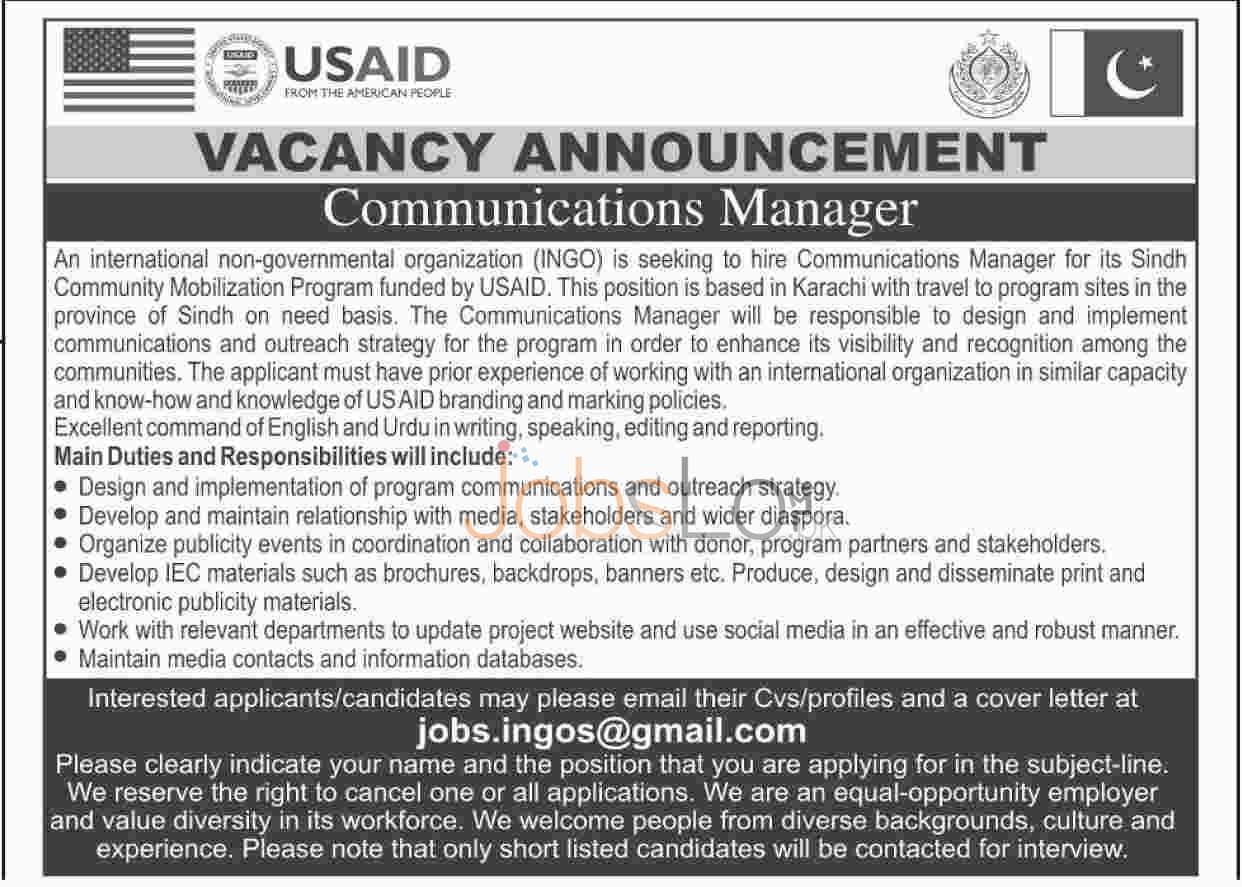 Situations Vacant in USAID February/March 2016 Karachi Latest Advertisement
