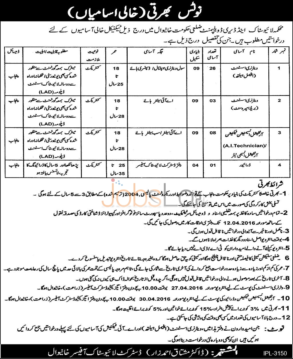 Situations Vacant in Livestock & Dairy Development Department Khanewal 2016 Latest Advertisement