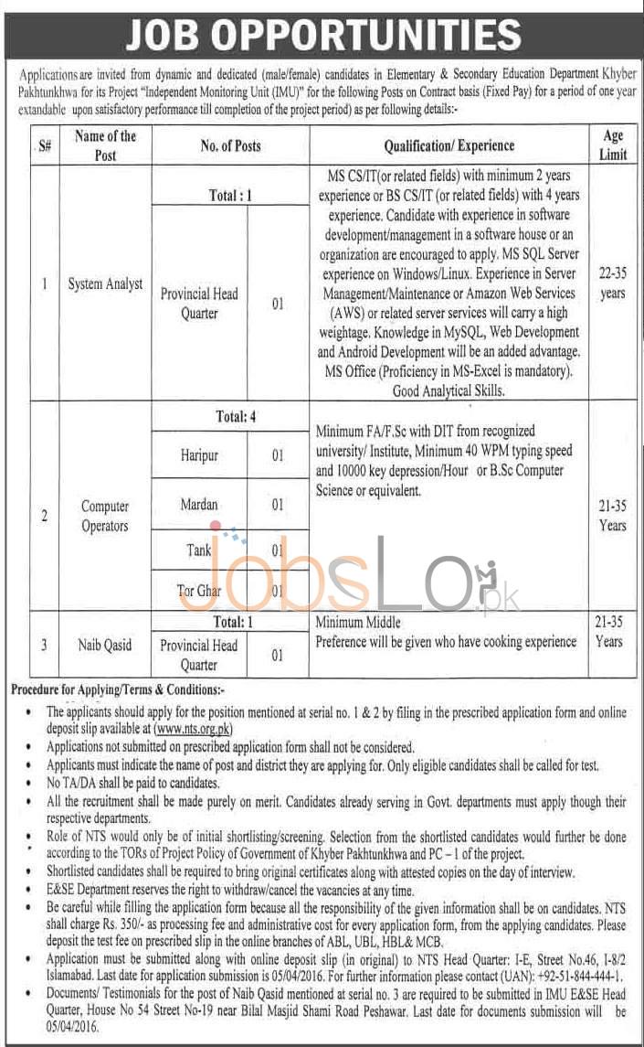 KPK Elementary & Secondary Education Department Jobs 2016 NTS Application Form www.nts.org.pk