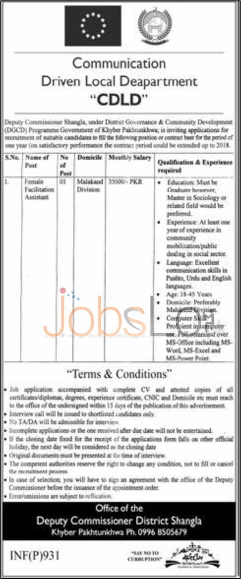 Situations Vacant in Communication Driven Local Department 2016 Shangla Eligibility Criteria