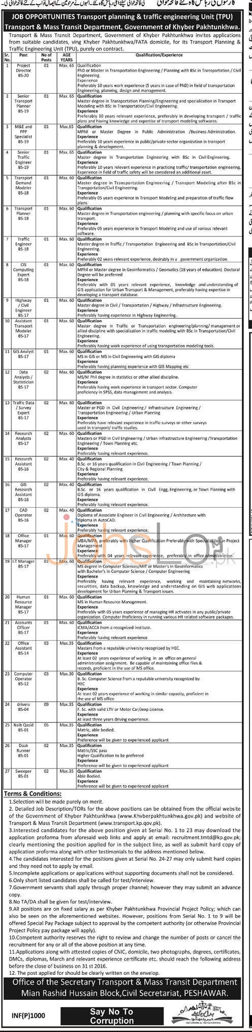 Transport Planning & Traffic Engineering Unit Jobs 2016 Govt of KPK Latest