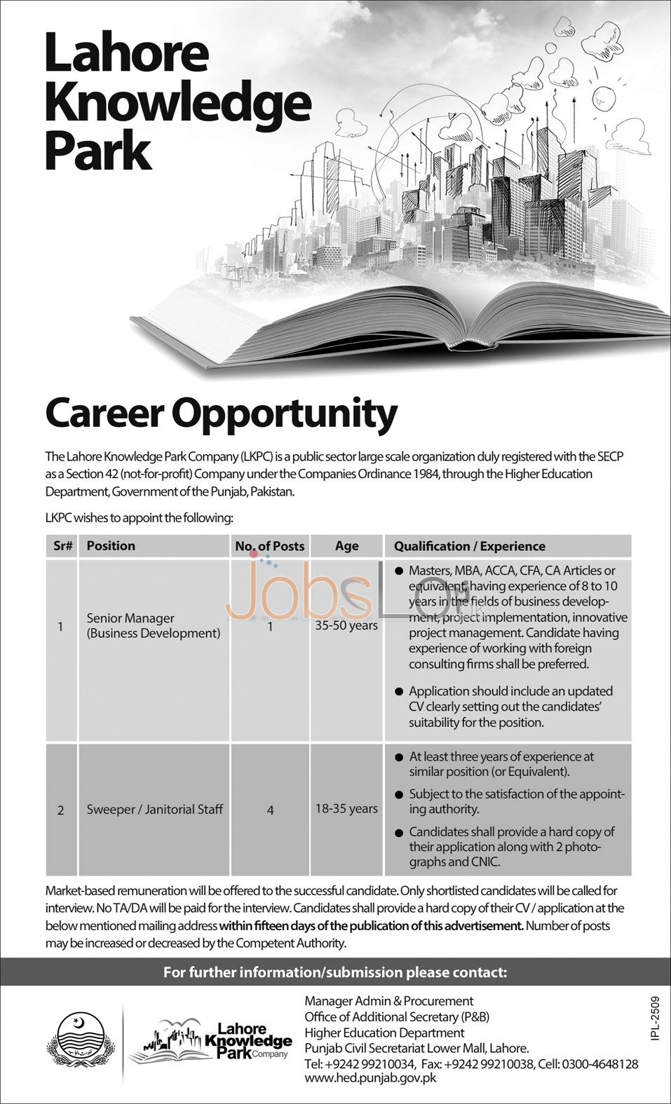 Recruitment Offers in Lahore Knowledge Park Company 2016 Latest Advertisement
