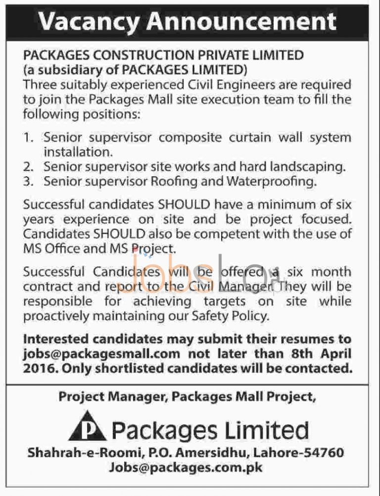 Packages Construction Pvt Ltd Lahore Jobs 29 March 2016 Apply Online