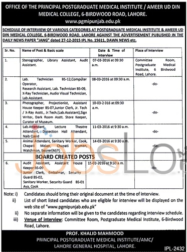 Recruitment Opportunities in Ameer Ud Din Medical College 2016 Lahore Interview Latest