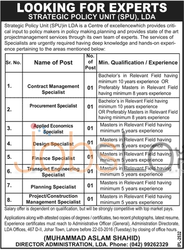 Employment Offers in Lahore Development Unit 2016 Eligibility Criteria