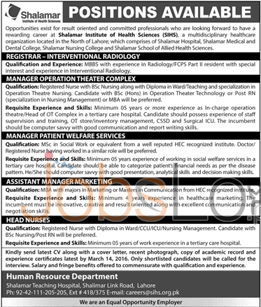 Employment Opportunities in Shalamr Institute Of Health Sciences 2016 Lahore Vacancies Latest