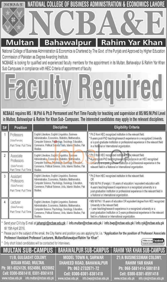 NCBA&E College 2016 Jobs in Multan, Bahawalpur & R.H Khan Apply Online Latest