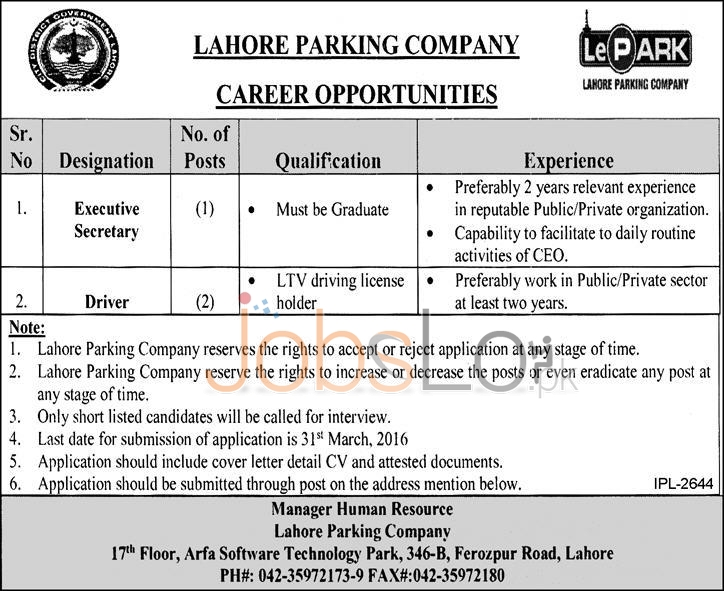 Executive Secretary & Driver Jobs 09 March 2016 in Lahore Parking Company Latest
