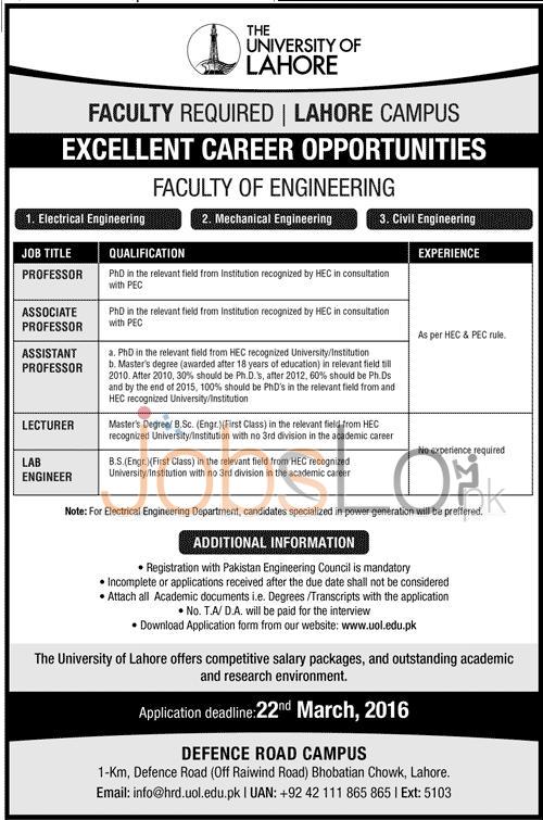 University of Lahore Jobs 16 March 2016 Application Form www.uol.edu.pk