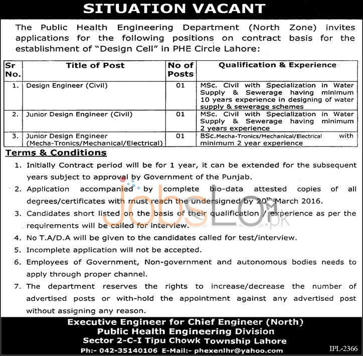Situations Vacant in Public Health Engineering Department 2016 Lahore Latest Advertisement
