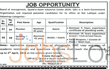 Situations Vacant in Quaid-e- Azam Industrial Estate Lahore 2016 for Security Guard & Plumber Eligibility Criteria