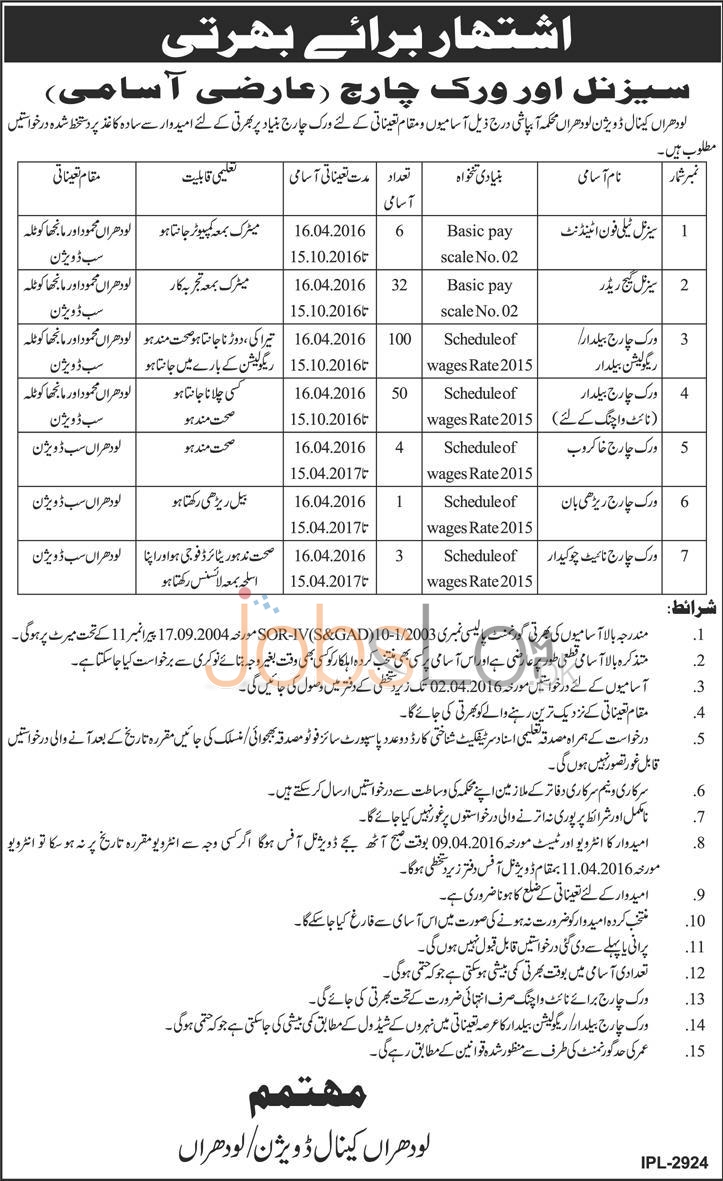 Irrigation Department Lodhran Canal Division Jobs 16 March 2016 Test & Interview Schedule