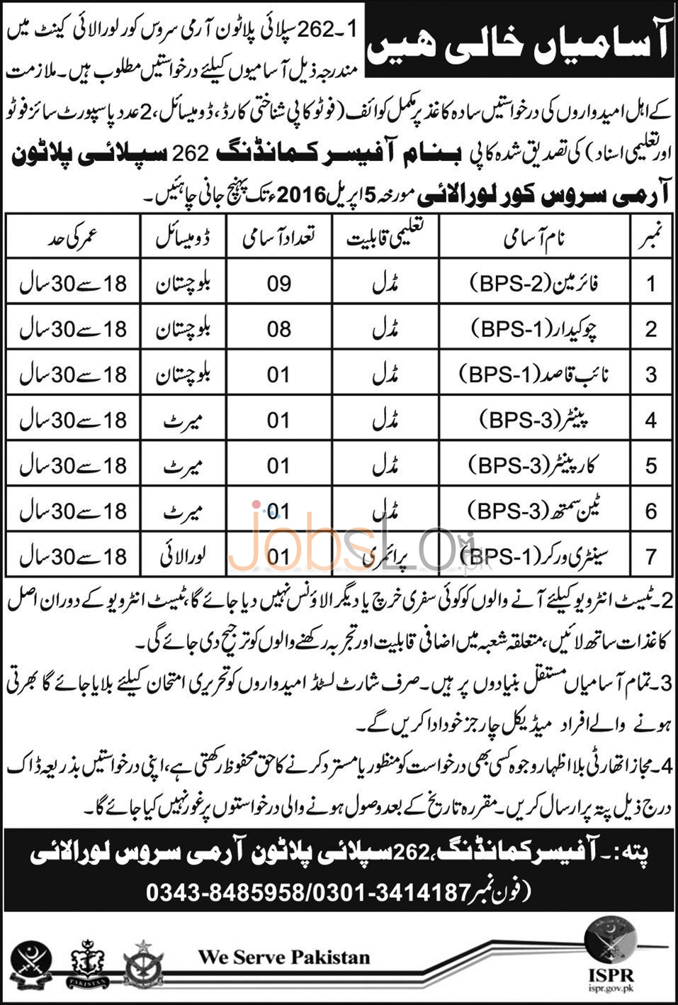 Recruitment Offers in 262 Supply Platon Army Services Core Loralai Cantt 2016 Test & Interview