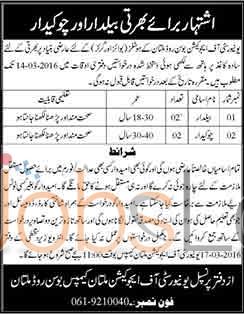 University of Education 2016 Jobs in Multan For Girls & Boys Hostel Latest