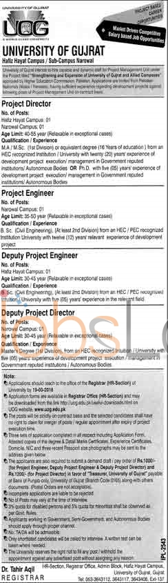 Recruitment Offers in University Of Gujrat 2016 For Project Director Application Form Latest