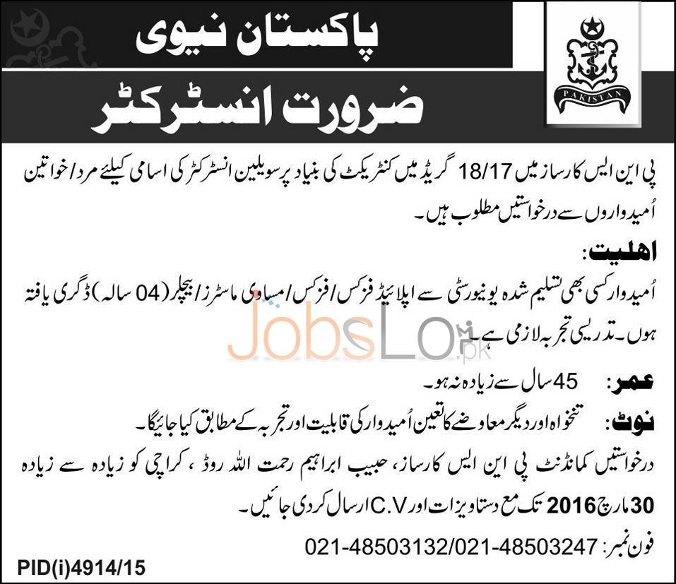 Pakistan Navy Karachi 2016 For Civilian Instructor Latest Advertisement