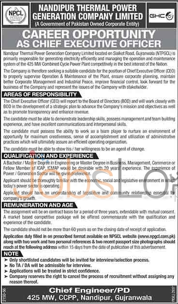 NTPGCL Jobs in Gujranwala 2016 For CEO Application Form www.npgcl.com.pk