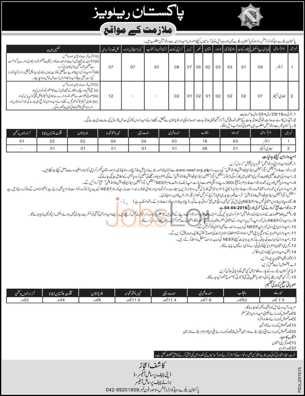 Pakistan Railways Headquartr Offic 2016 Lahore Application Form www.neef.org.pk