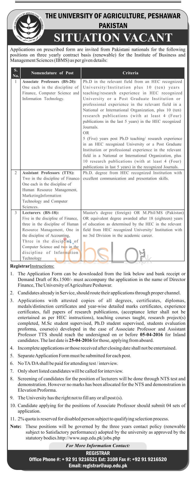 Recruitment Opportunities in The University Of Agriculture 15 March 2016 Peshawar Application Form Latest