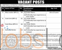Situations Vacant in Ministry Of Defence 04 March 2016 Peshawar Eligibility Criteria