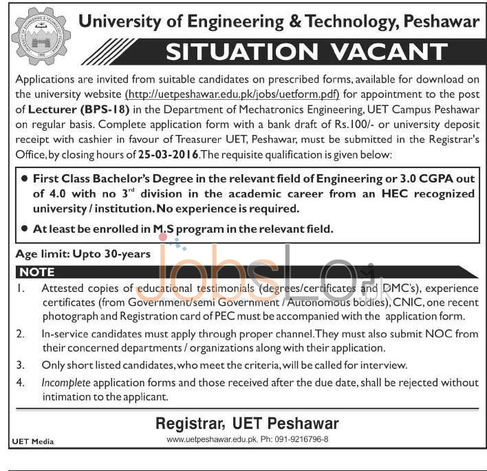 Recreuitment Offers in University of Engineering & Technology 08 March 2016 Peshawar For Lecturer Latest