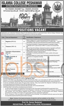 Islamia College 2016 Peshawar,KPK Latest Advertisement
