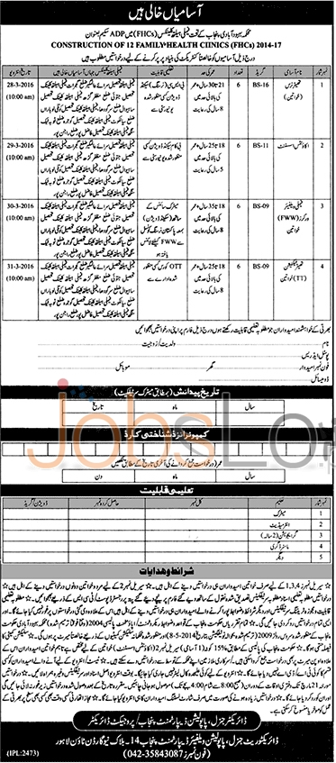 Recruitment Opportunities in Population Welfare Department March 2016 Eligibility Criteria