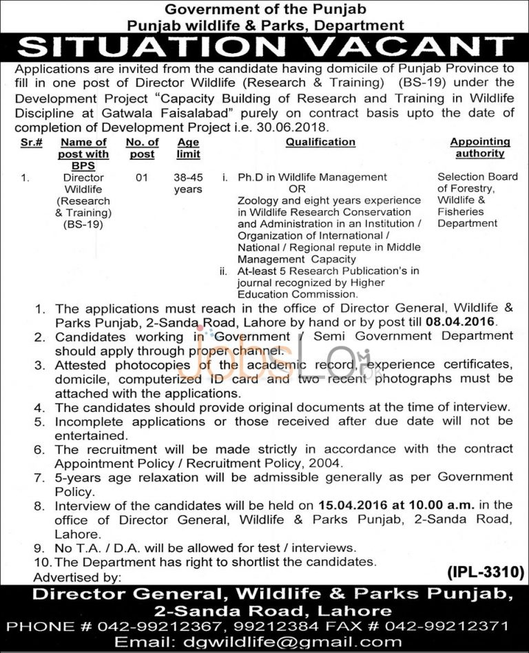 Wildlife & Parks Department Punjab Jobs 24 March 2016 For Director Wildlife Research