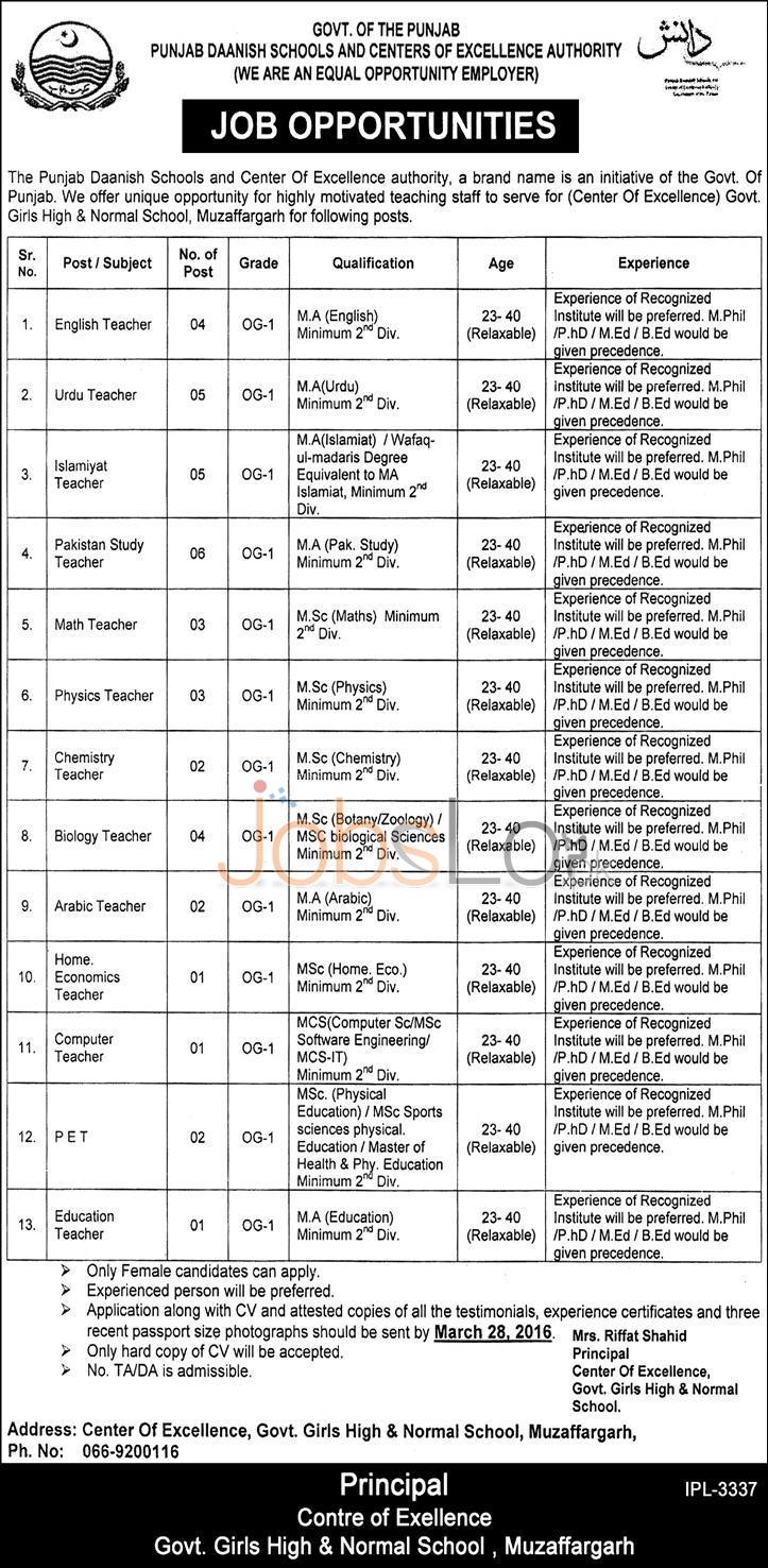 Punjab Danish School Muzaffargarh Jobs 2016 For Teaching Staff