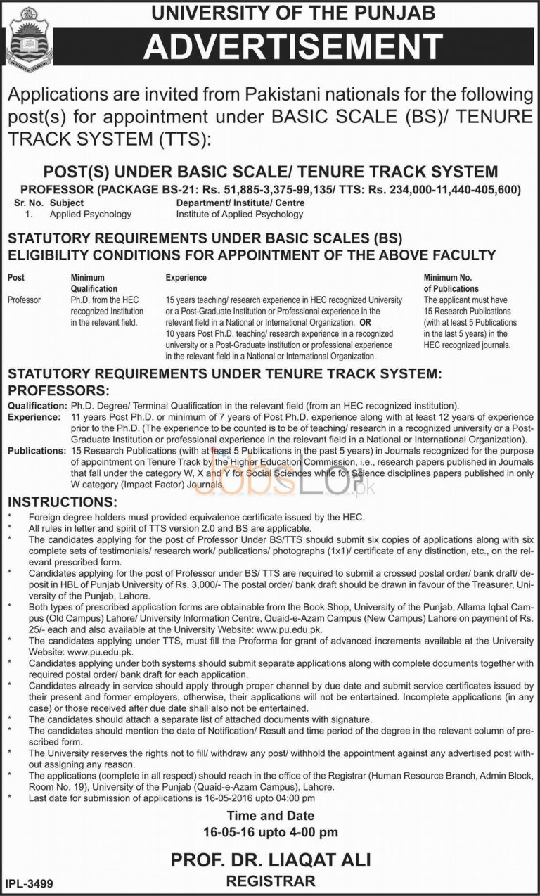 University of Punjab Jobs 2016 Application Form For Teaching Faculty