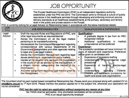 Punjab Healthcare Commission 2016 Jobs For Legal Advisor Apply Online