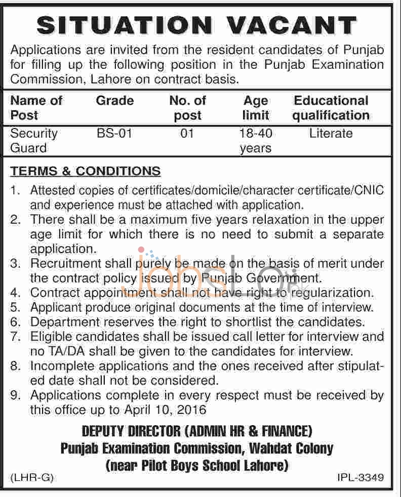 Punjab Examination Commission Jobs