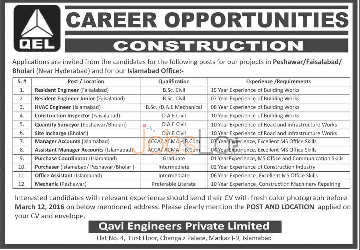 Situations Vacant in QEL 2016 Islamabad For Site Engineers, HVAC Engineers & Quantity Surveyor