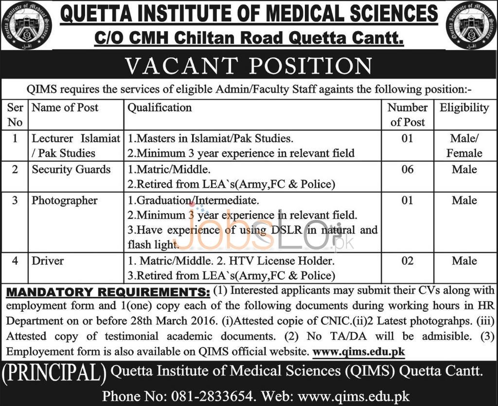 Quetta Institute of Medical Sciences Jobs 2016 Application Form Last Date