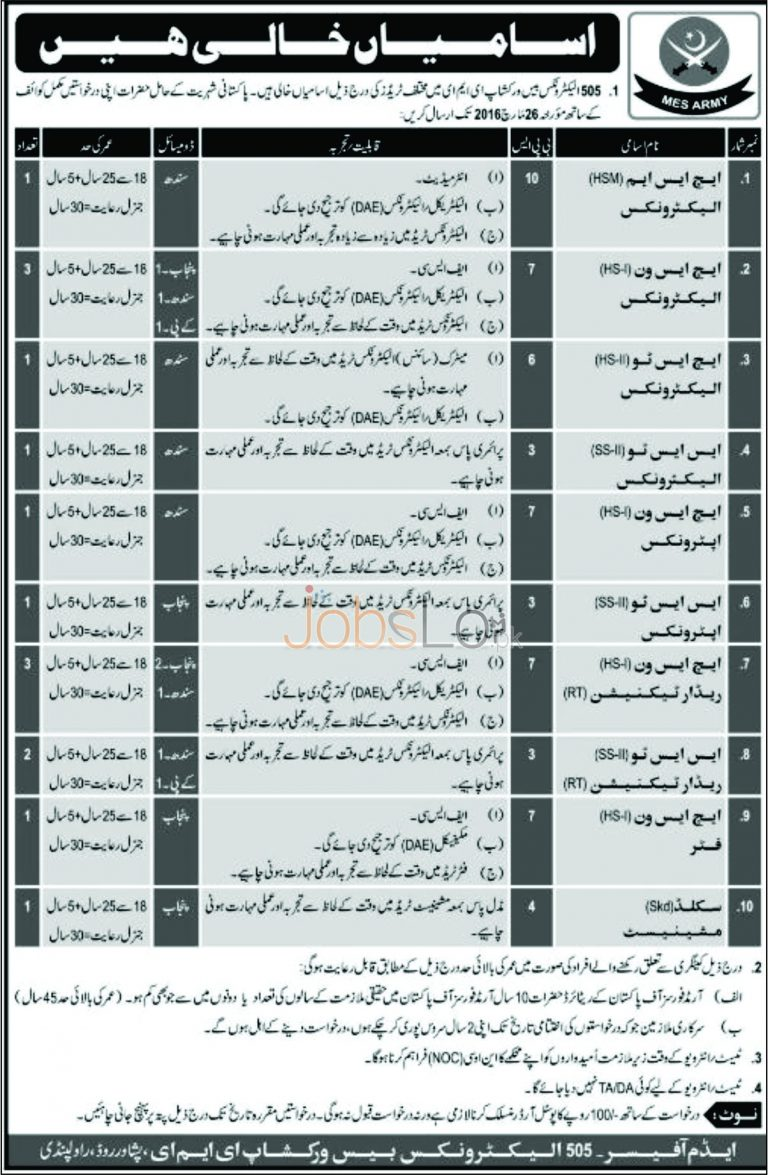 Military Engineering Service Army Jobs 07 March 2016 in Rawalpindi Latest