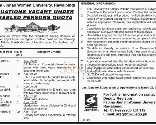Recruitment Offers in Fatima Jinnah Women University 2016 Rawalpindi For Disbale Persons Latest
