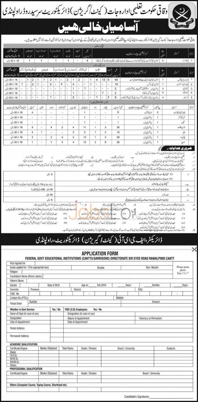 Federal Govt Educational Institute Jobs 16 March 2016 in Rawalpindi Application Form Download Online
