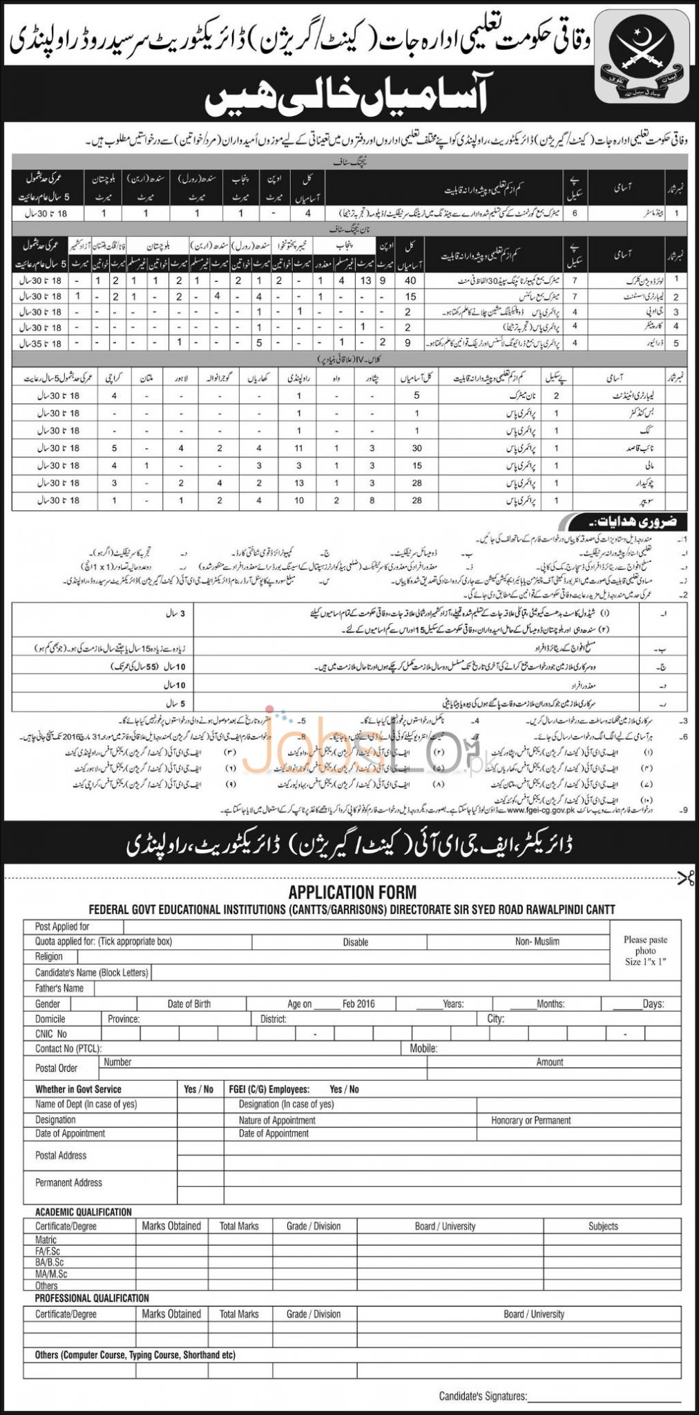 Recruitment Offers in Federal Govt Educational Institute 16 March 2016 Application Form Last Date