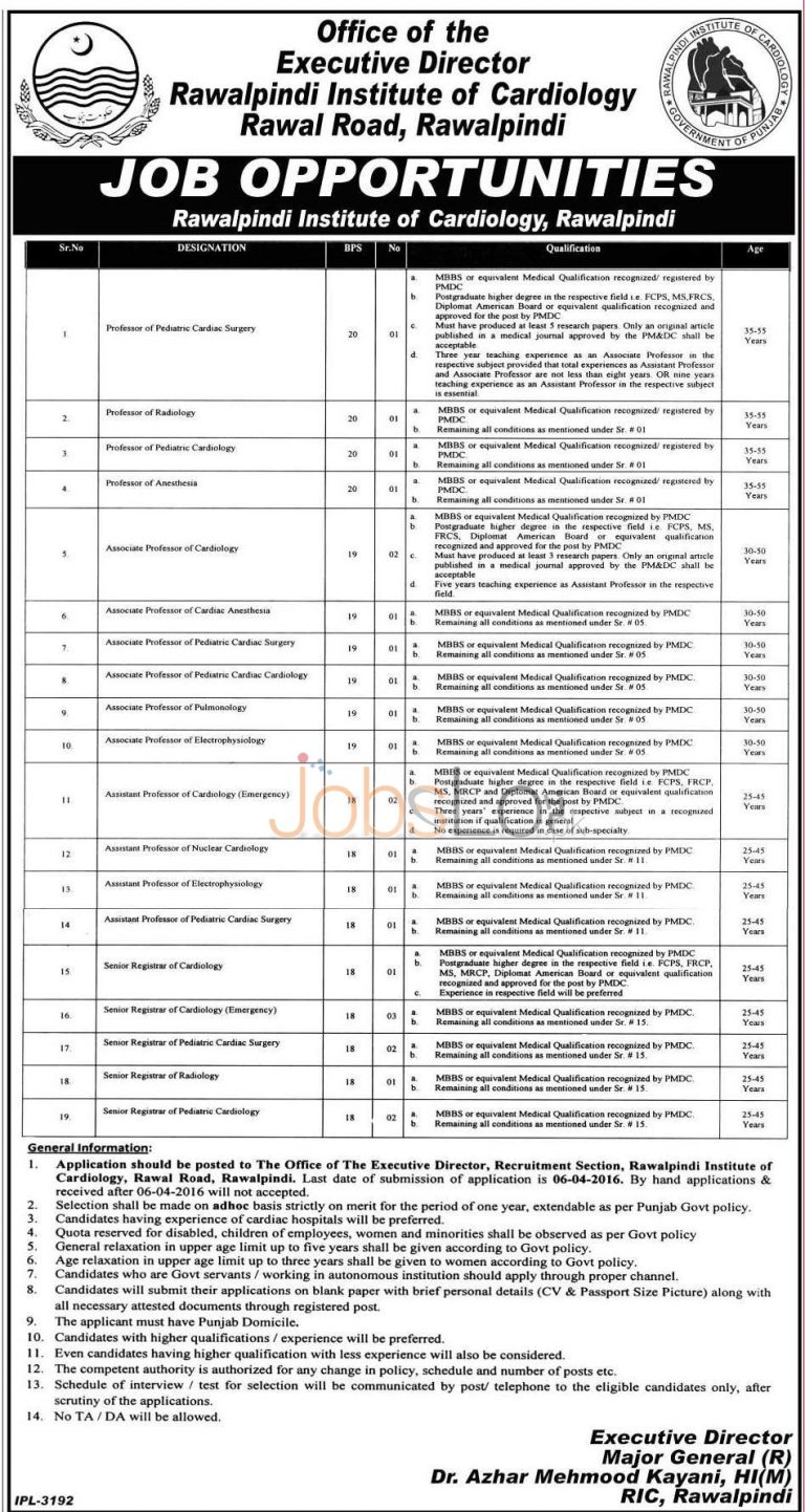 Institute of Cardiology Rawalpindi Jobs 2016 For Professor Eligibility Criteria
