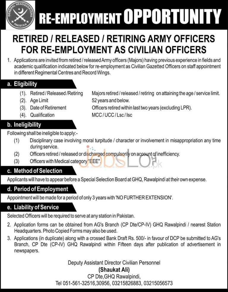 GHQ Headquarter Rawalpindi Pakistan Army Jobs 2016 in For Retired Released & Retiring Army Officer Career Opportunities
