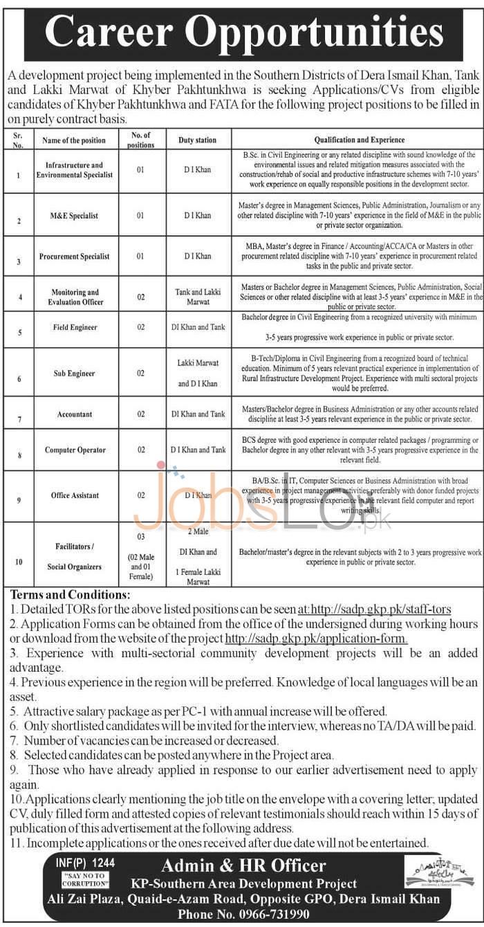 Southern Area Development Project KPK Jobs 2016 Application Form Online