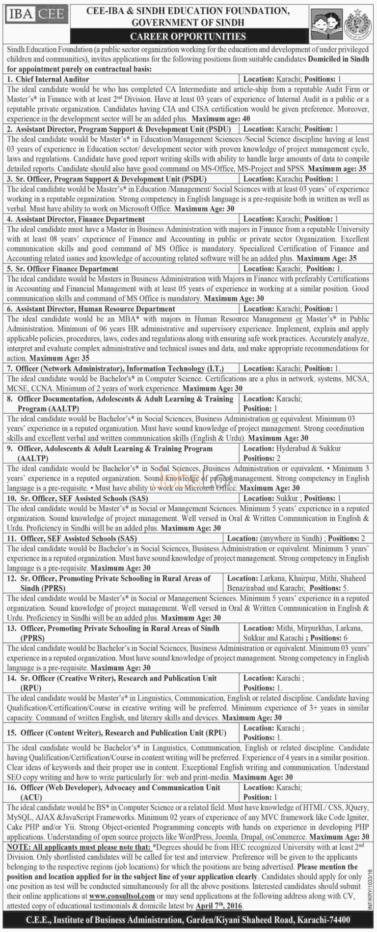 Sindh Education Foundation CEE-IBA Jobs 2016 in Apply Online Last Date
