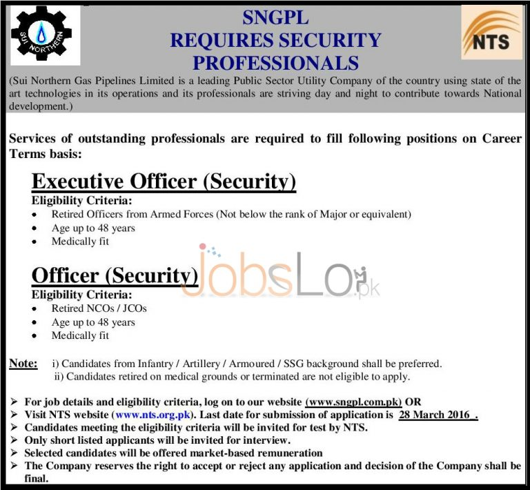SNGPL Jobs 2016  For Executive Officer (Security) & Officer Security NTS Application Form Download Online