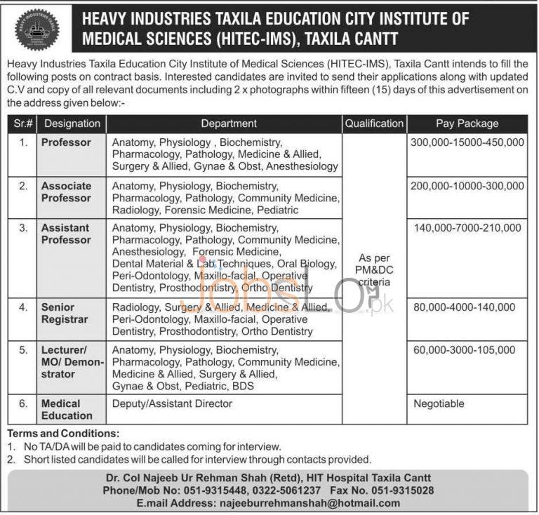 HITEC Taxila 23 March 2016 Jobs for Professor, Astt Professor & Sr Registrar Latest
