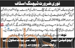 Recruitment Offers in  FC Public School 2016 Zhob For Teaching Staff Required