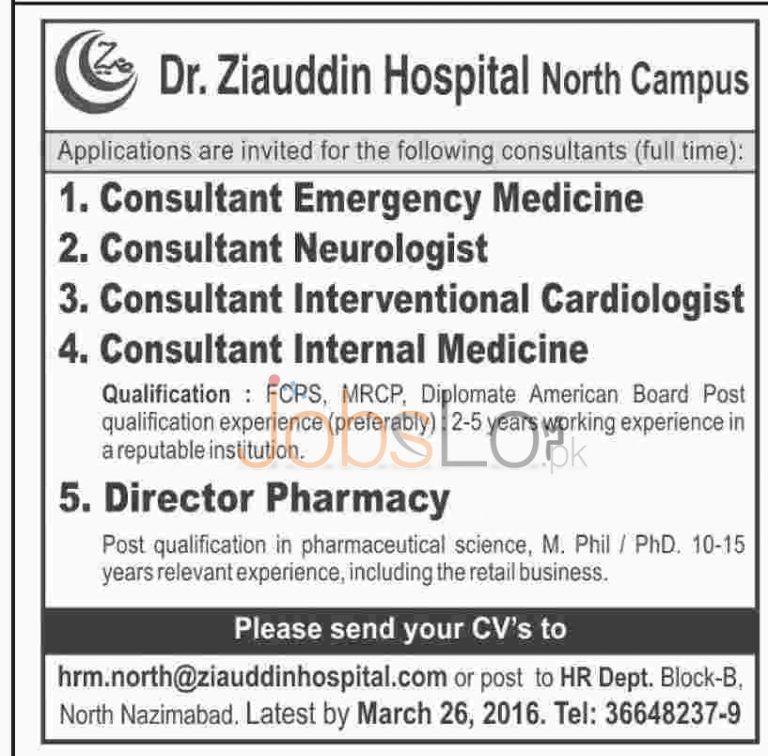 Ziauddin Hospital Karachi Jobs 2016 For Consultants Apply Online Last Date