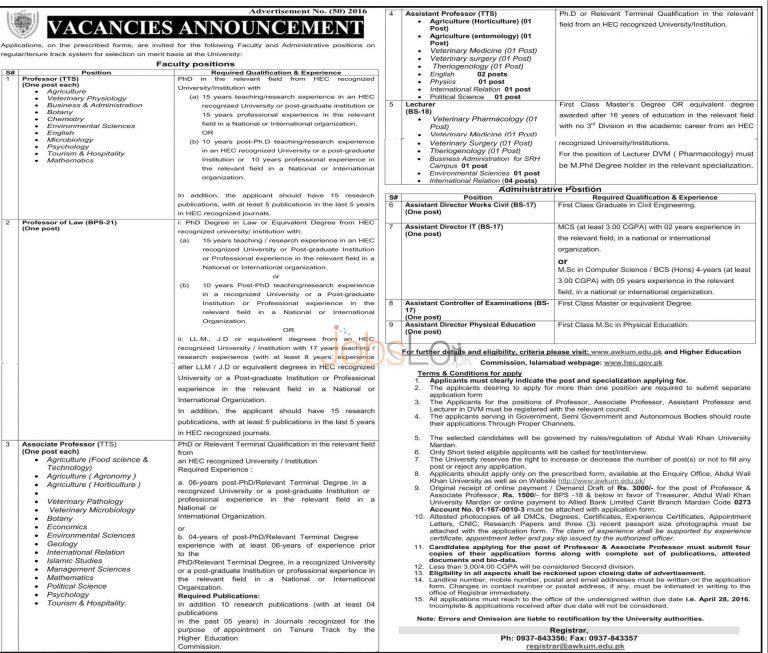 Abdul Wali Khan University Mardan Jobs April 2016 Application Form Download Online