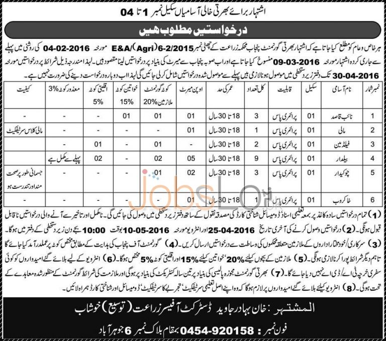 Agriculture Department Khushab Jobs April 2016 Test & Interview Schedule