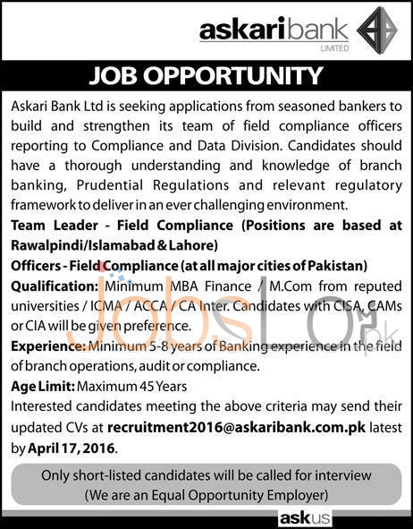 Askari Bank Ltd Jobs